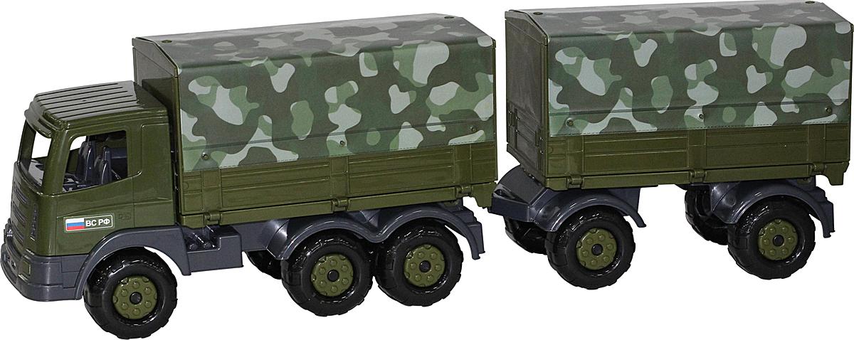 Полесье Грузовик военный бортовой тентовый Престиж с прицепом полесье конструктор автомобиль легковой с прицепом