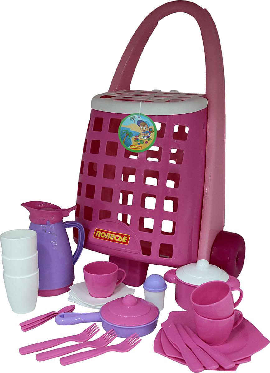 Полесье Забавная тележка + набор игрушечной детской посуды disney набор детской посуды королевские питомцы 3 предмета