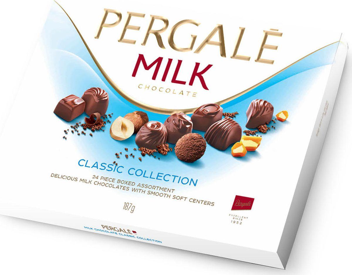 Pergale из молочного шоколада набор конфет ассорти, 187 г10644Лидирующая фабрика стран Балтии, кондитерские изделия которой славятся своим качеством и оригинальными рецептами вот уже более 60 лет. Внутри элегантной упаковки находятся шоколадные конфеты с различными нежными начинками, которые позволят насладиться невероятным вкусом конфет.