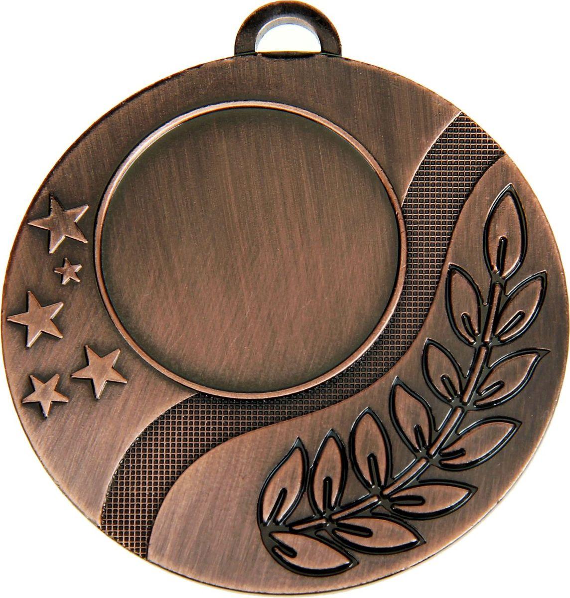 Медаль сувенирная с местом для гравировки, цвет: бронзовый, диаметр 5 см. 0191028901Дизайн медали дополнен изображением лавра, ведь со времен греко-римской древности его ветви — символ славы, победы или мира. Эту награду вы сможете дополнить персональной гравировкой или корпоративной символикой. Если вы захотите подчеркнуть важность домашнего или корпоративного спортивного мероприятия, оригинальным и запоминающимся итогом соревнований будет вручение медалей участникам и победителям. Характеристики: Диаметр медали: 5 см Диаметр вкладыша (лицо): 2,5 см Диаметр вкладыша (оборот): 4,5 см.