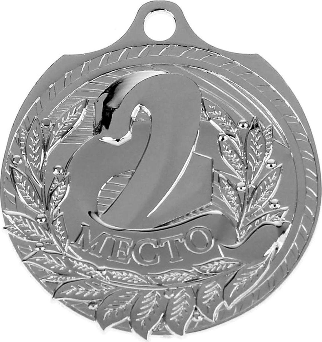 Медаль сувенирная 2 место, цвет: серебристый, диаметр 5 см. 0301040399Эта универсальная медаль с классическим дизайном подойдёт для любых соревнований. вы сможете дополнить её персональной гравировкой или корпоративной символикой.Если необходимо подчеркнуть важность домашнего или корпоративного спортивного мероприятия, то оригинальным и запоминающимся итогом соревнований будет вручение медалей участникам и победителям. Диаметр медали: 5 см. Сверху расположено отверстие для крепления ленты.
