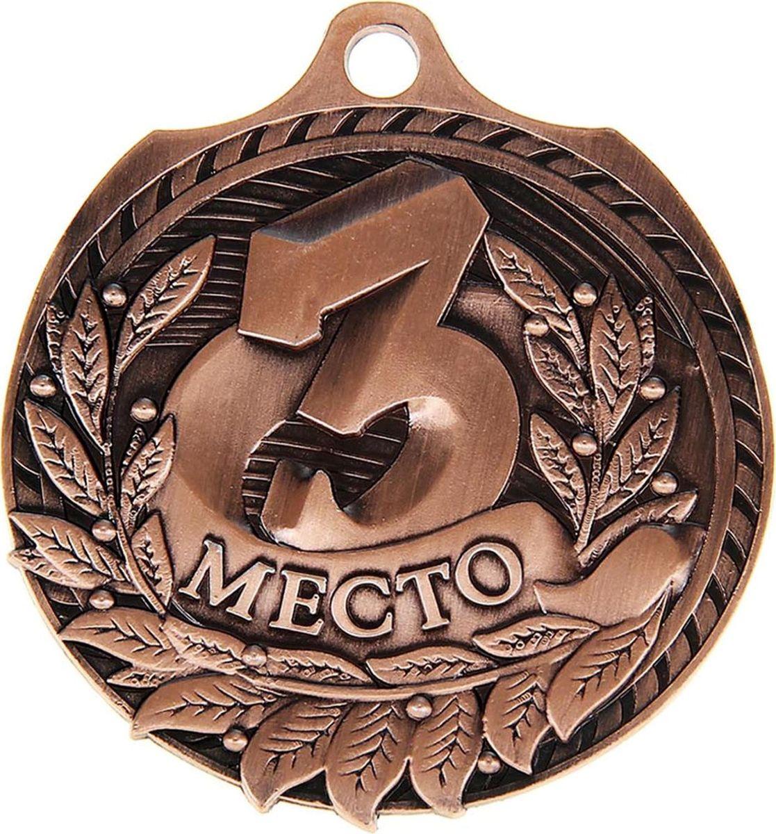 Медаль сувенирная 3 место, цвет: бронзовый, диаметр 5 см. 0301040400Эта универсальная медаль с классическим дизайном подойдёт для любых соревнований. вы сможете дополнить её персональной гравировкой или корпоративной символикой.Если необходимо подчеркнуть важность домашнего или корпоративного спортивного мероприятия, то оригинальным и запоминающимся итогом соревнований будет вручение медалей участникам и победителям. Диаметр медали: 5 см. Сверху расположено отверстие для крепления ленты.
