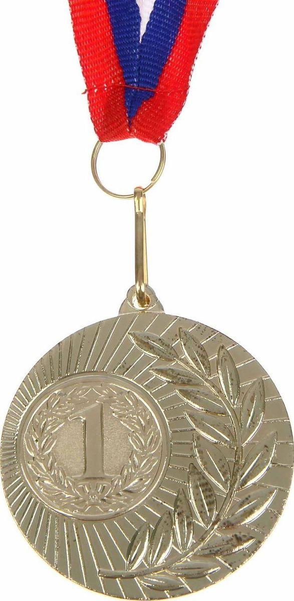 Медаль сувенирная 1 место, цвет: золотистый, диаметр 5 см. 0231108679Дизайн медали дополнен изображением лавра, ведь со времен греко-римской древности его ветви — символ славы, победы или мира. Эту награду вы сможете дополнить персональной гравировкой или корпоративной символикой. Если вы захотите подчеркнуть важность домашнего или корпоративного спортивного мероприятия, оригинальным и запоминающимся итогом соревнований будет вручение медалей участникам и победителям. Характеристики:Диаметр медали: 5 см Диаметр вкладыша (оборот): 3,5 см Ширина ленты: 2,5 см.