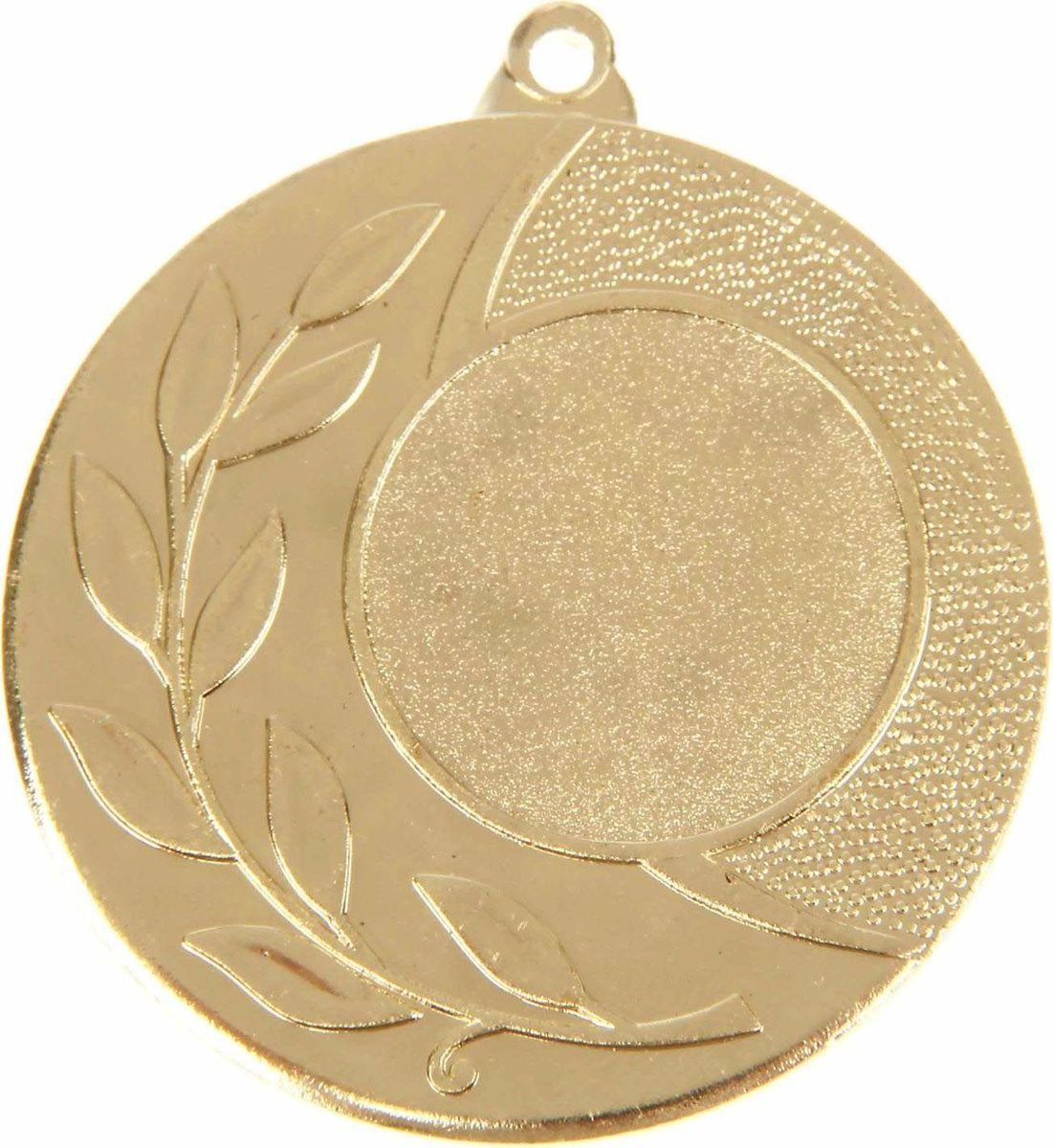 Медаль сувенирная с местом для гравировки, цвет: золотистый, диаметр 4,5 см. 0281108706Медаль — знак отличия, которым награждают самых достойных. Она вручается лишь тем, кто проявил настойчивость и волю к победе. Каждое достижение — это важное событие, которое должно остаться в памяти на долгие годы. Любое спортивное состязание, профессиональное или среди любителей, любое корпоративное мероприятие — отличный повод для того, чтобы отметить лучших из лучших. Характеристики:Диаметр медали: 4,5 см Диаметр вкладыша (лицо): 2,5 см Диаметр вкладыша (оборот): 4 см. Пусть любая победа будет отмечена соответствующей наградой!