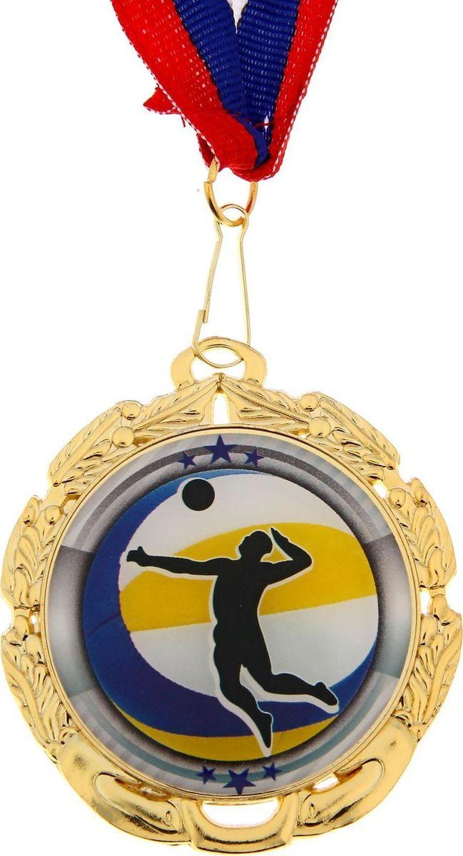Медаль сувенирная Волейбол, цвет: золотистый, диаметр 6,5 см. 0451177992Заслуженный приз! Долгие изнурительные тренировки, напряжение перед соревнованием… Наконец ты вышел и показал всё, на что способен. И вот она — победа! — награда для настоящего чемпиона. Пусть каждый видит, кому именно сегодня покорился пьедестал. Блестящая награда на груди станет лучшим ответом скептикам и всегда будет напоминать, что упорный труд непременно вознаграждается. Наступит завтрашний день, и своё лидерство нужно будет доказывать заново. Ну а пока победитель сможет наслаждаться триумфом, глядя на эту медаль.Характеристики: Диаметр медали: 6,5 см Диаметр вкладыша (оборот): 4,8 см Ширина ленты: 2 см.