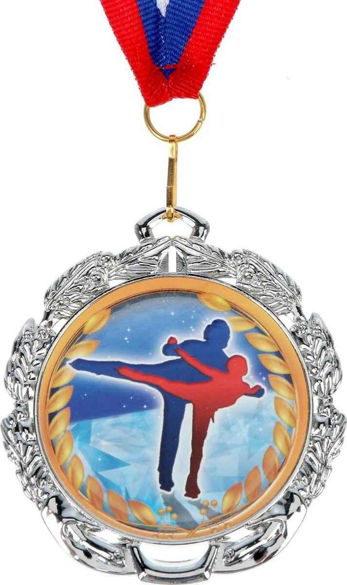 Медаль сувенирная Фигурное катание, цвет: серебристый, диаметр 6,5 см. 052