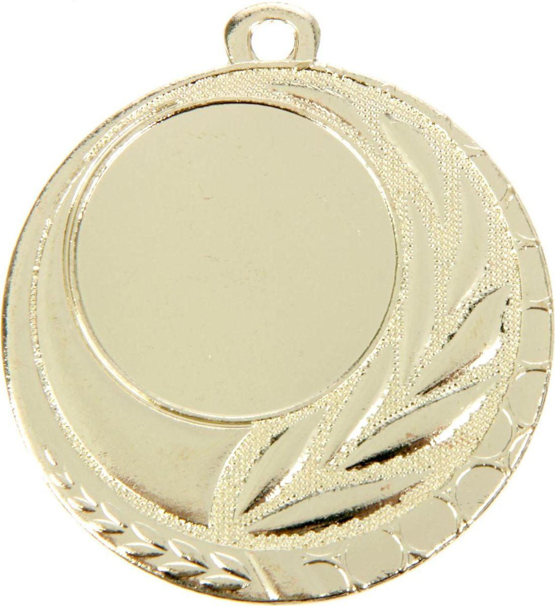 Медаль сувенирная с местом для гравировки, цвет: золотистый, диаметр 5 см. 0421387688Пусть любая победа будет отмечена соответствующей наградой! Медаль — знак отличия, которым награждают самых достойных. Она вручается лишь тем, кто проявил настойчивость и волю к победе. Каждое достижение — это важное событие, которое должно остаться в памяти на долгие годы. изготовлена из металла, в комплект входит лента цвета триколор, являющегося одним из государственных символов России. Характеристики: Диаметр медали: 5 см Диаметр вкладыша (лицо): 2,5 см Диаметр вкладыша (оборот): 4 см