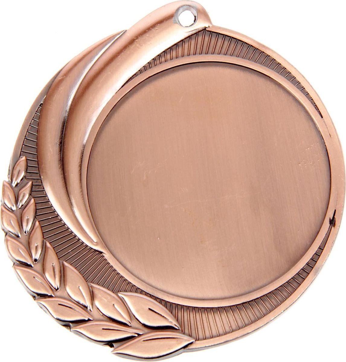 Медаль сувенирная с местом для гравировки, цвет: бронзовый, диаметр 7 см. 0481387714Пусть любая победа будет отмечена соответствующей наградой! Медаль — знак отличия, которым награждают самых достойных. Она вручается лишь тем, кто проявил настойчивость и волю к победе. Каждое достижение — это важное событие, которое должно остаться в памяти на долгие годы. изготовлена из металла, в комплект входит лента цвета триколор, являющегося одним из государственных символов России. Характеристики: Диаметр медали: 7 см Диаметр вкладыша (лицо): 5 см Диаметр вкладыша (оборот): 5,4 см