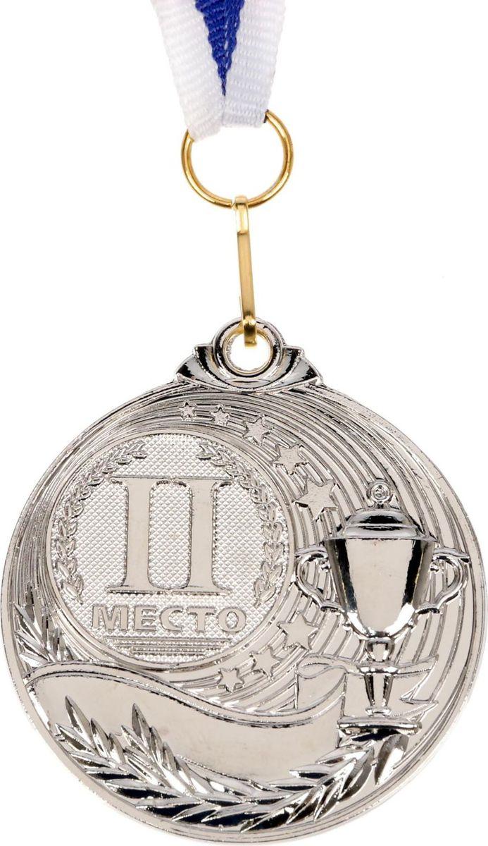 Медаль сувенирная 2 место, цвет: серебристый, диаметр 5 см. 0611652990Медаль — достойная награда заслуженным чемпионам! Она надолго сохранит память о яркой победе и не раз принесёт радость своему владельцу. Награда, обрамлённая лавровой ветвью и кубком, расположена на ленте с российским триколором, что делает её ценным подарком за достижения в спорте! Ни одна заслуга не останется без внимания!