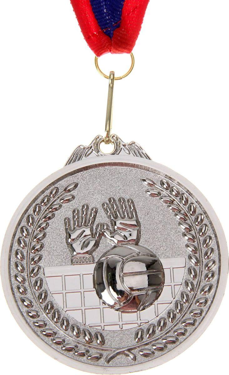 Медаль сувенирная Волейбол, цвет: серебристый, диаметр 7 см. 008506963Медаль — знак отличия, которым награждают самых достойных. Она вручается лишь тем, кто проявил настойчивость и волю к победе. Каждое достижение — это важное событие, которое должно остаться в памяти на долгие годы. Медаль тематическая Волейбол d=7 см, цвет серебро изготовлена из металла, в комплект входит лента цвета триколор, являющегося одним из государственных символов России. Характеристики:Диаметр медали: 7 см Диаметр вкладыша (оборот): 6 см Ширина ленты: 2,5 см.