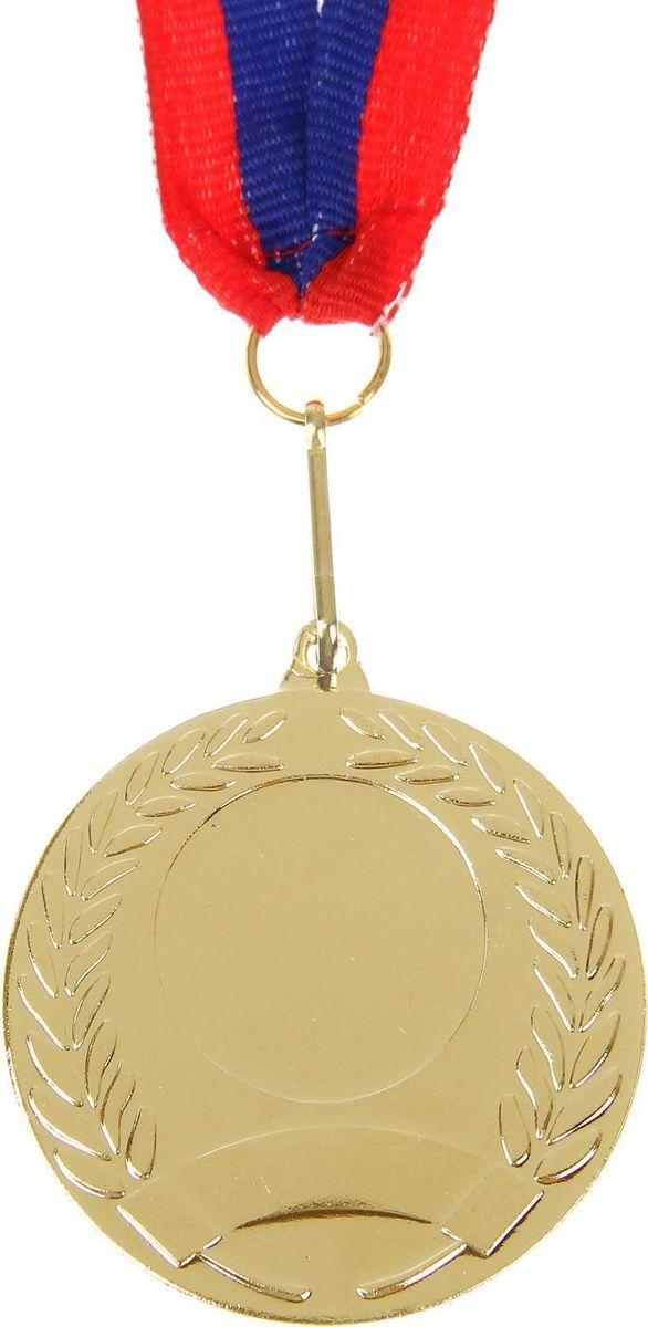 Медаль сувенирная с местом для гравировки, цвет: золотистый, диаметр 5 см. 005507601Наши медали станут достойной наградой за заслуженную победу. Дизайн сувенира дополнен лавровой ветвью — символом славы и мира. Медаль выполнена из металла и дополнена лентой с триколором. На изделии есть место для вашей гравировки на лицевой стороне и обороте. Характеристики Диаметр медали — 5 см. Толщина ленты — 2,5 см. Диаметр гравировки на лицевой стороне — 2,4 см. Диаметр гравировки на обратной стороне — 5 см.