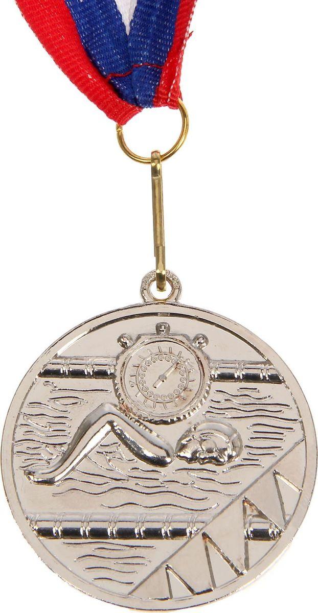 Медаль сувенирная Плавание, цвет: серебристый, диаметр 5 см. 019835318Медаль — знак отличия, которым награждают самых достойных. Она вручается лишь тем, кто проявил настойчивость и волю к победе. Каждое достижение — это важное событие, которое должно остаться в памяти на долгие годы. Медаль тематическая Плавание d=5 см, цвет серебро изготовлена из металла, в комплект входит лента цвета триколор, являющегося одним из государственных символов России. Характеристики:Диаметр медали: 5 см Диаметр вкладыша (оборот): 3,5 см Ширина ленты: 2,5 см.