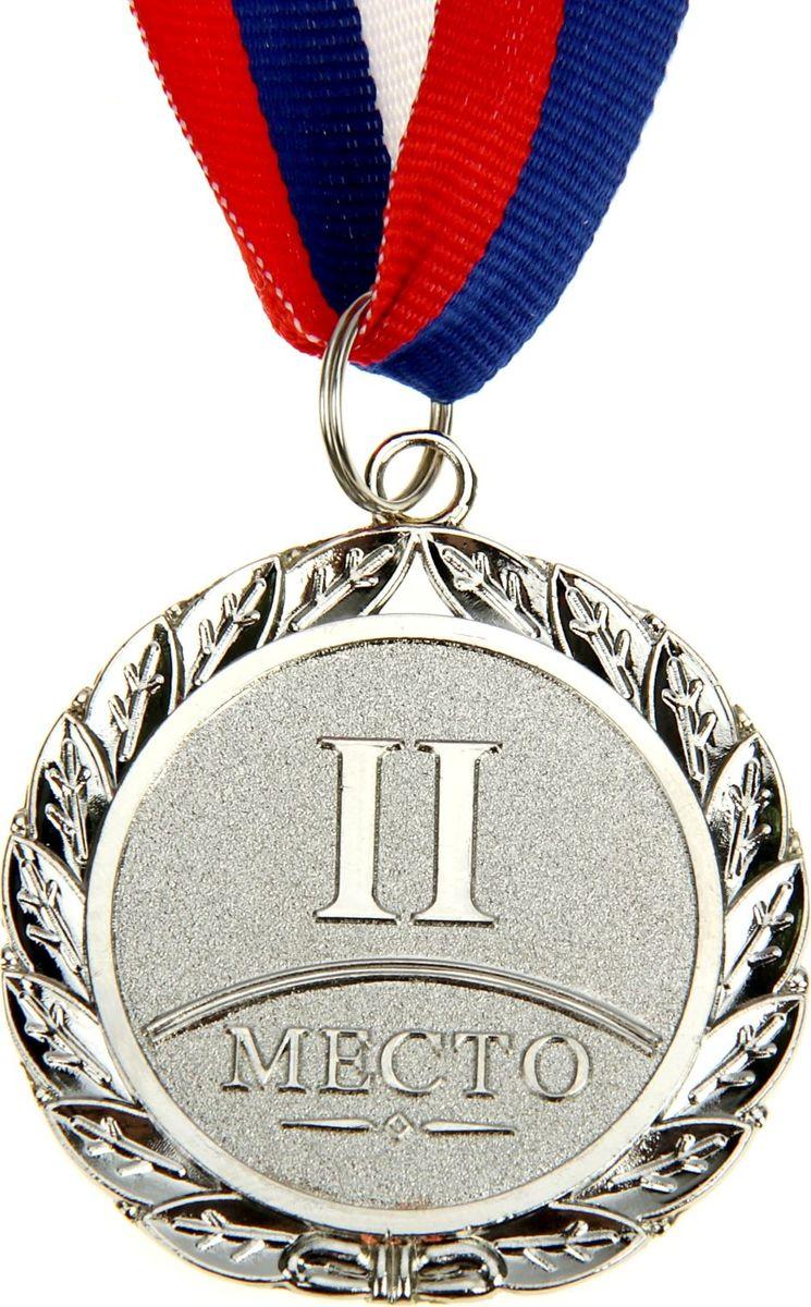 Медаль сувенирная 2 место, цвет: серебристый, диаметр 5 см. 001835340Дизайн медали дополнен изображением лавра, ведь со времен греко-римской древности его ветви — символ славы, победы или мира. Эту награду вы сможете дополнить персональной гравировкой или корпоративной символикой. Если вы захотите подчеркнуть важность домашнего или корпоративного спортивного мероприятия, оригинальным и запоминающимся итогом соревнований будет вручение медалей участникам и победителям. Характеристики:Диаметр медали: 5 см Диаметр вкладыша (оборот): 3,5 см Ширина ленты: 2,5 см.
