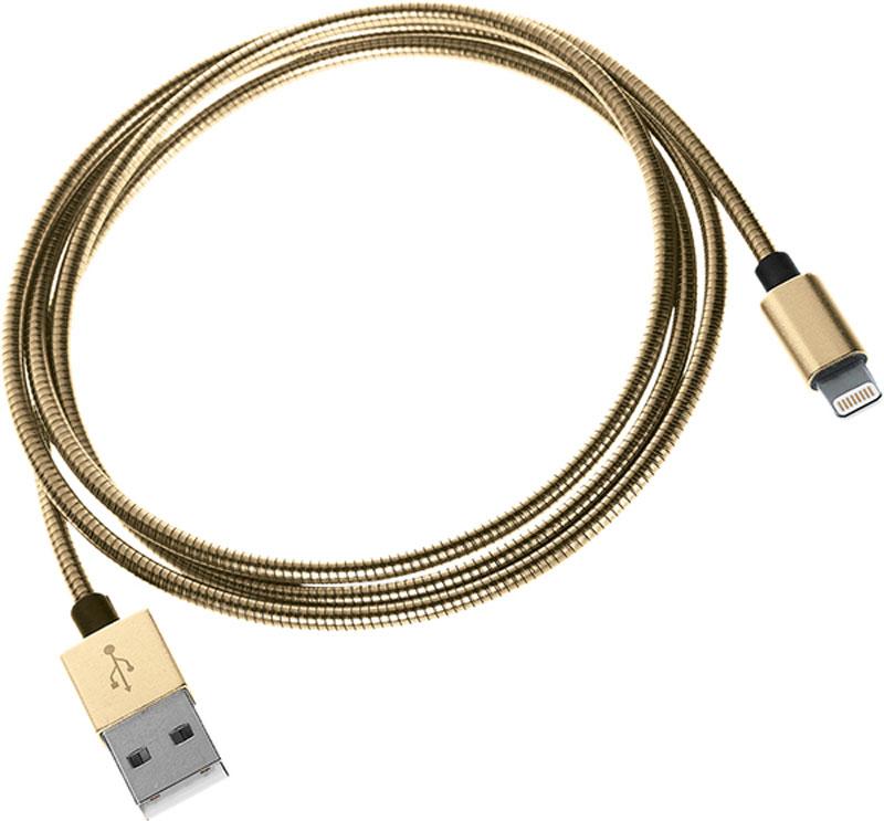 Qumo Lightning-USB MFI, Gold кабель (1 м)Cable Qumo MFI fullmetaL 1м goКабель Qumo Lightning-USB MFI позволяет быстро зарядить ваше устройство (iPhone, iPad, iPod) и обеспечивает надежную передачу данных. Кабель в полностью металлической оплетке и с металлическим коннектором, является самым надежным их всех кабелей выпускаемых Qumo. Стальная пружинка не только защищает кабель от излома и повреждений, но и поможет спасти его от зубов мелких домашних животных.