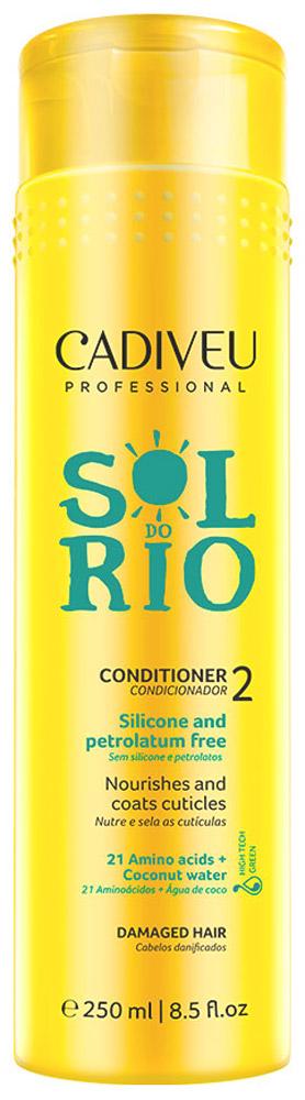 Cadiveu Кондиционер Sol do Rio 250 млPA0225Кондиционер для глубокого питания- Обогащен аминокислотами и кокосовой водой. Не содержит силиконы и парабены. Интенсивно питает,запечатывает кутикулу, защищает волосы от ежедневной агрессивных воздействий. Делает волосы заметно сильными, мягкими, эластичными и с глянцевым блеском.