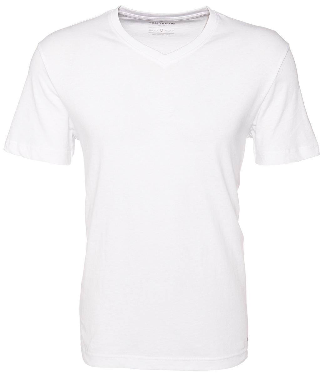 Футболка мужская Tom Tailor, цвет: белый, 2 шт. 1028703.09.10. Размер XL (52)1028703.09.10Мужская футболка от Tom Tailor выполнена из натурального хлопка. Модель с короткими рукавами и V-образным вырезом горловины.В комплект входят 2 футболки.