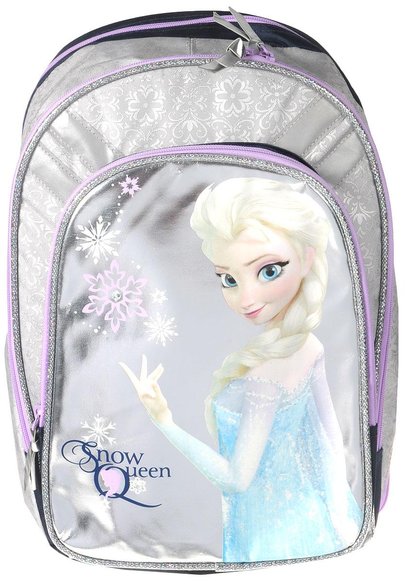 Рюкзак школьный Disney Frozen Snow Queen, цвет: серебристый, фиолетовый. FZCB-UT1-731FZCB-UT1-731Школьный рюкзак Disney Frozen Snow Queen обязательно понравится вашей школьнице. Выполнен из прочных и высококачественных материалов, дополнен изображением героини мультфильма Холодное сердце.Содержит два вместительных отделения, закрывающиеся на застежки-молнии с двумя бегунками. В большом отделении находится перегородка для тетрадей или учебников. Лицевая сторона рюкзака оснащена накладным карманом на застежке-молнии, внутри которого расположены три открытых кармашка для мелких предметов. По бокам расположены два прорезных отделения на молнии, в которых компактно убраны карманы-сетка. Конструкция спинки дополнена эргономичными подушечками, противоскользящей сеточкой и системой вентиляции для предотвращения запотевания спины ребенка. Мягкие широкие лямки позволяют легко и быстро отрегулировать рюкзак в соответствии с ростом. Рюкзак оснащен текстильной ручкой для удобной переноски в руке. Светоотражающие элементы обеспечивают безопасность в темное время суток.Многофункциональный школьный рюкзак станет незаменимым спутником вашего ребенка в походах за знаниями.Вес рюкзака без наполнения: 900 г.Рекомендуемый возраст: от 12 лет.