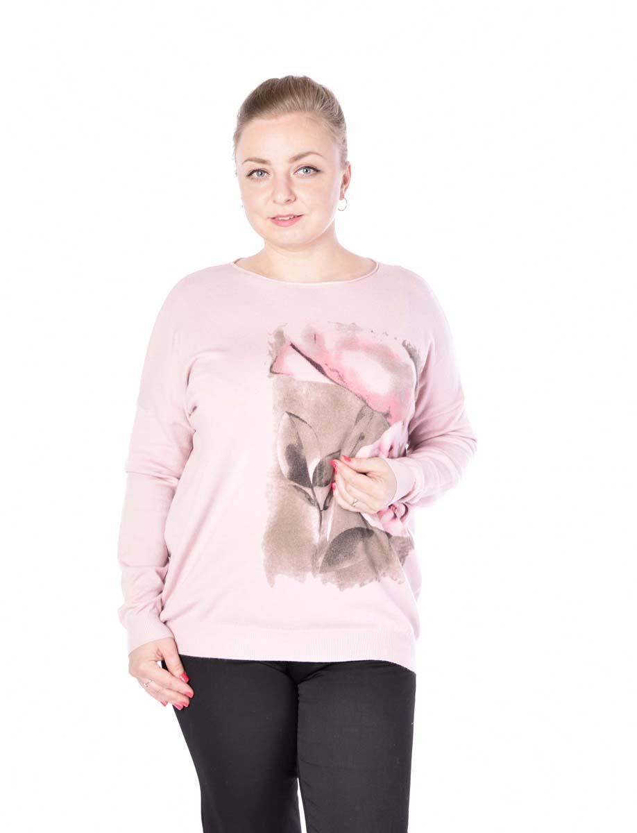 Джемпер женский Milanika, цвет: розовый. 1509. Размер 48/501509Стильный вязаный джемпер от Milanika выполнен из пряжи сложного состава. Модель прямого силуэта с длинными рукавами и круглым вырезом горловины спереди оформлена принтом.