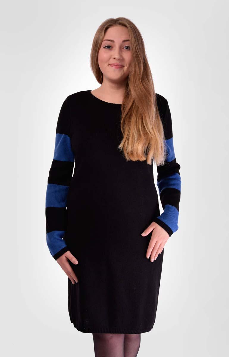 Платье Milana Style, цвет: черный, синий. 951. Размер 50