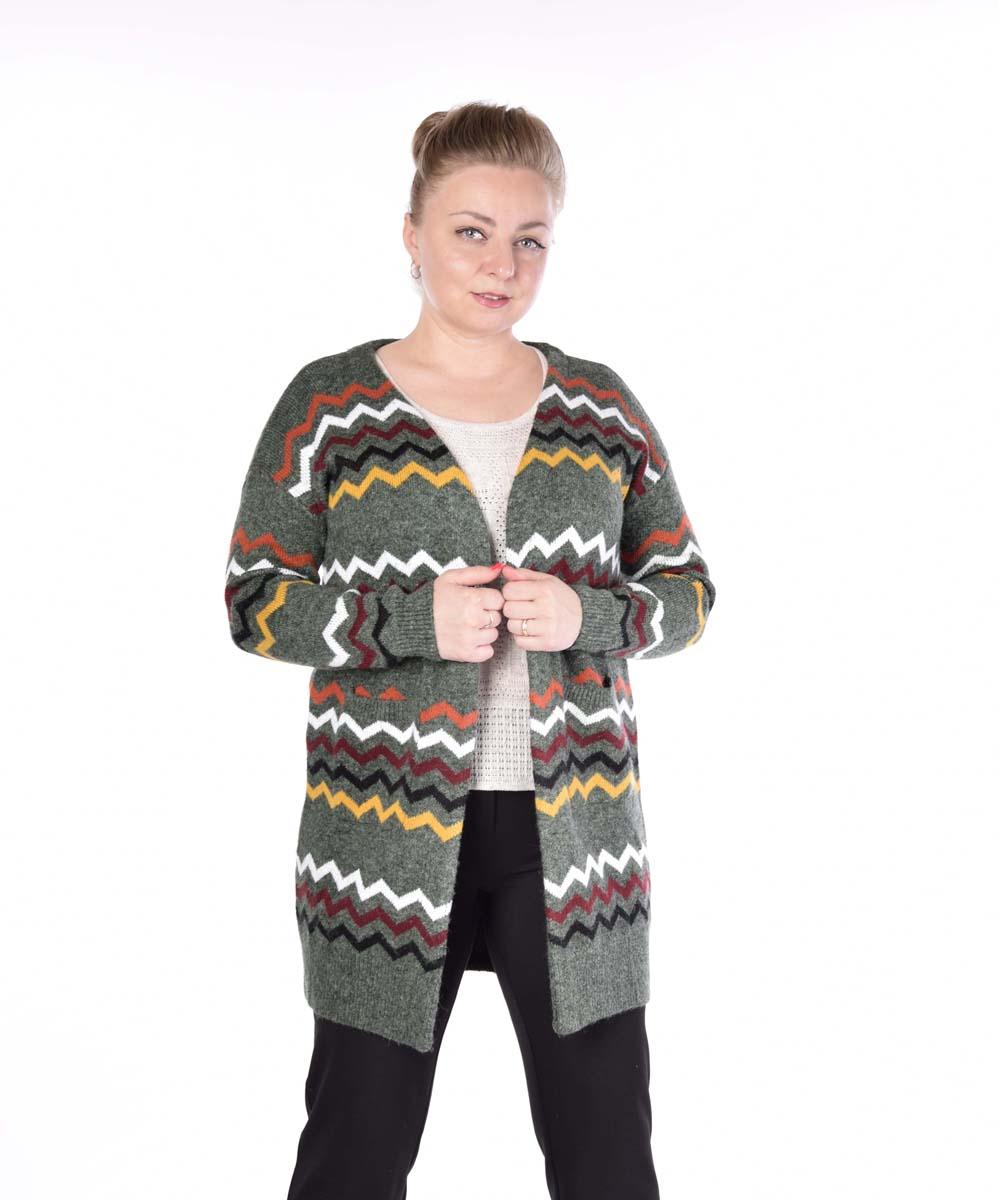 Кардиган женский Pettli Collection, цвет: зеленый. 14520. Размер 50/52 женский кардиган 013a56