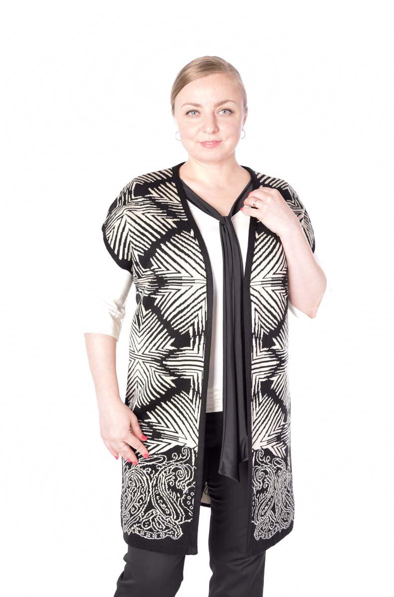 Жилет женский Milana Style, цвет: черный, белый. 1024. Размер 48 блузка женская milana style цвет красный черный белый 030416 размер 52