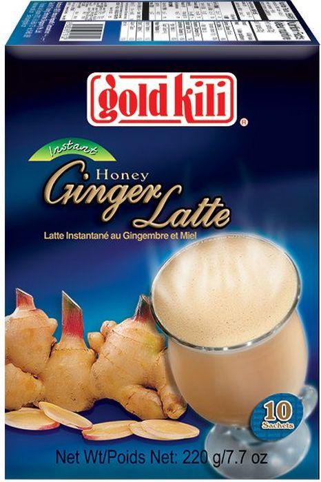 Gold Kili быстрорастворимый имбирный напиток латте с мёдом, 220 г8888296019102Нежнейший вкус сливок, терпкого имбиря и мёда-напиток для истинного удовольствия гурманов и любителей молочных продуктов и пряностей. Honey Ginger Latte можно заваривать горячей водой, сочетать с чаем или кофе. Он прекрасно подойдет для приготовления алкогольных и безалкогольных коктейлей. Напиток идеален в любой ситуации: холодной зимой, знойным летом, на работе, дома, в дороге. Вес упаковки 220 г.
