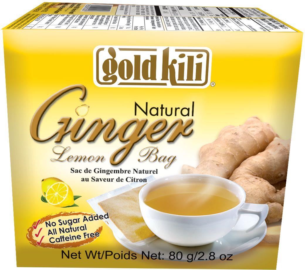 Gold Kili имбирь натуральный c лимоном пакетированный, 80 г (20 саше) чай gold kili быстрорастворимый имбирный напиток с коричневым сахаром 180 г