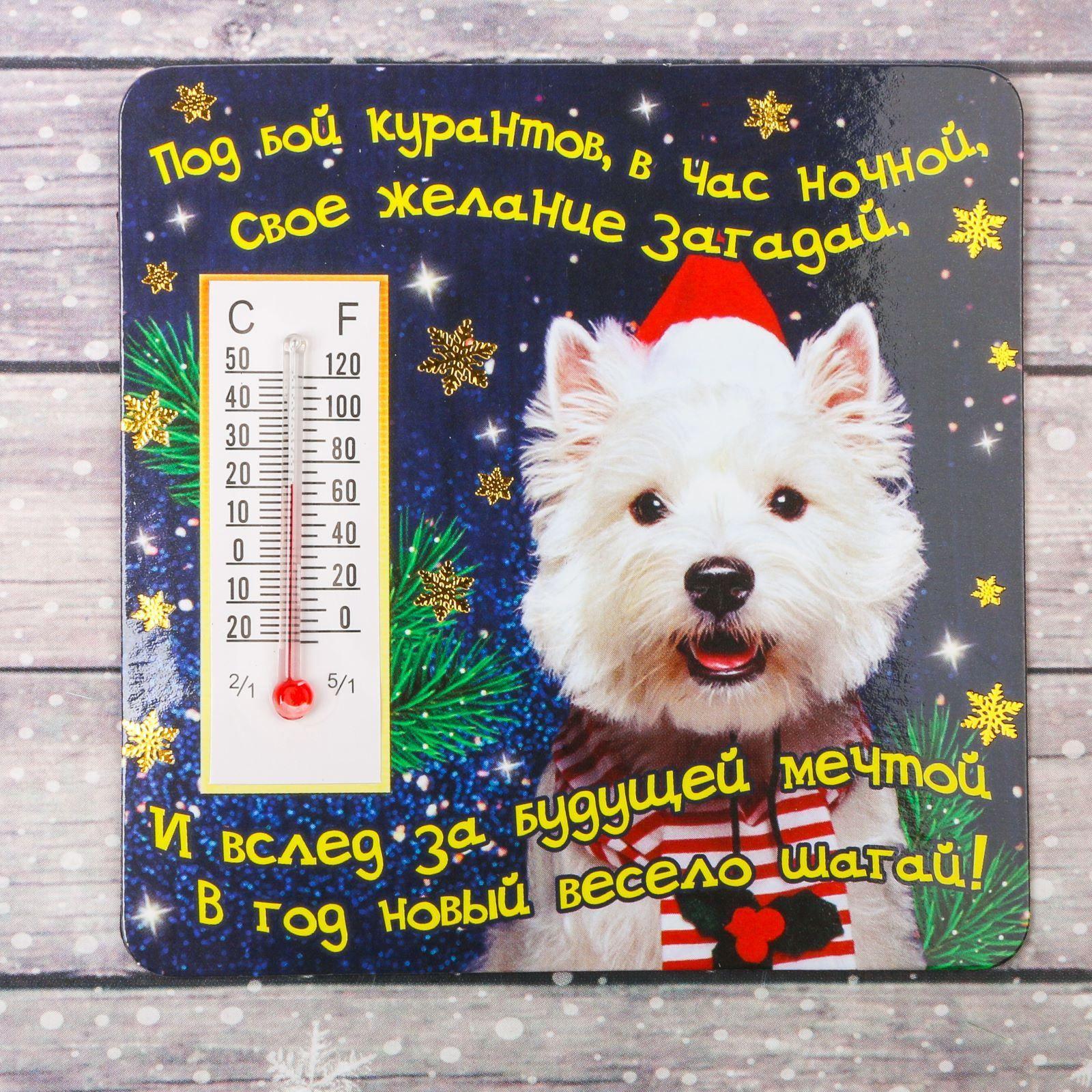 Магнит Sima-land Веселого Нового года, с термометром, 8 х 8 см2011365Порадуйте родных и близких оригинальным сувениром: преподнесите в подарок магнит. С ним даже самый серьезный человек почувствует себя ребенком, ожидающим чудо! Прикрепите его к любой металлической поверхности, и он удержит на виду важные записки, любовные послания или просто список продуктов.Создайте праздничное настроение, и оно останется с вами на весь год.