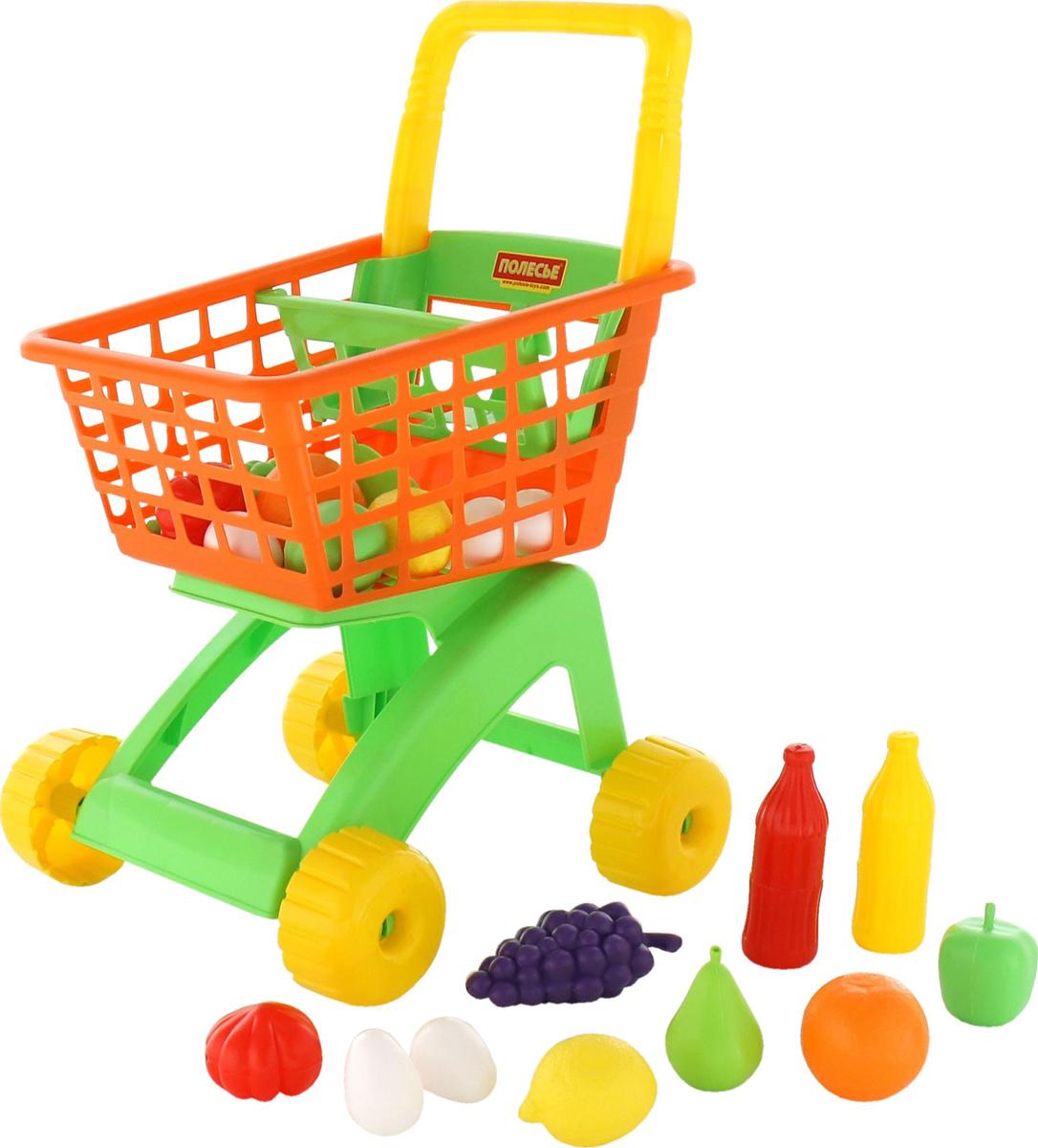 Полесье Игрушечная тележка для магазина набор продуктов № 6 19 предметов