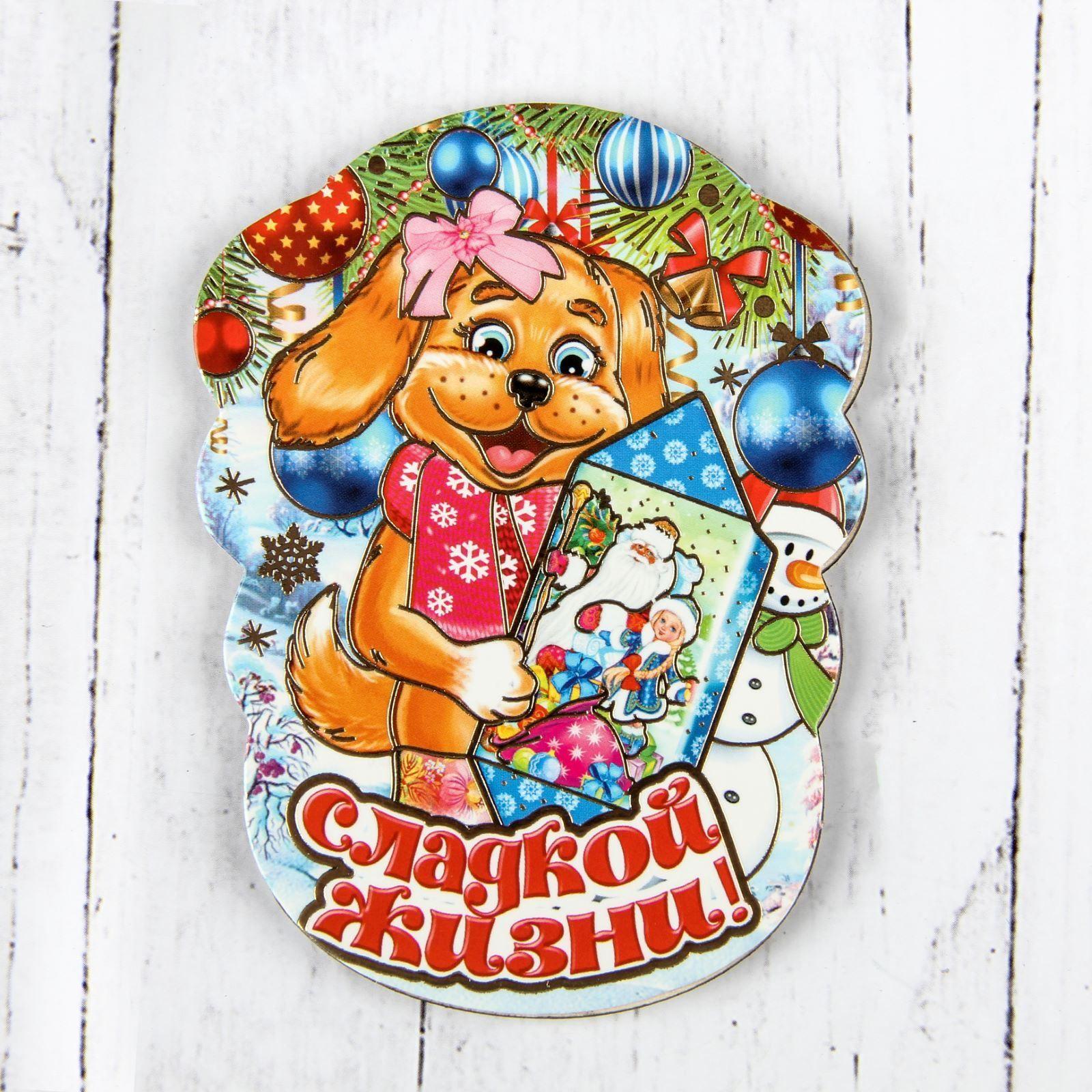 Магнит Sima-land Новогодний. 2018, 10 х 7,5 см. 25324022532402Порадуйте родных и близких оригинальным сувениром: преподнесите в подарок магнит. С ним даже самый серьёзный человек почувствует себя ребёнком, ожидающим чудо! Создайте праздничное настроение, и оно останется с вами на весь год.