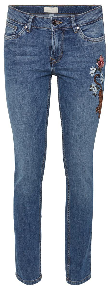 Джинсы женские Tom Tailor, цвет: синий. 6255038.00.71_1052. Размер 25-32 (40/42-32)6255038.00.71_1052Джинсы от Tom Tailor выполнены из эластичного хлопка. Модель прямого кроя в поясе застегивается на пуговицу, имеются ширинка на молнии и шлевки для ремня. Джинсы имеют классический пятикарманный крой: спереди – два втачных кармана и один маленький кармашек, сзади - два накладных кармана. Одна из брючин оформлена вышивкой.