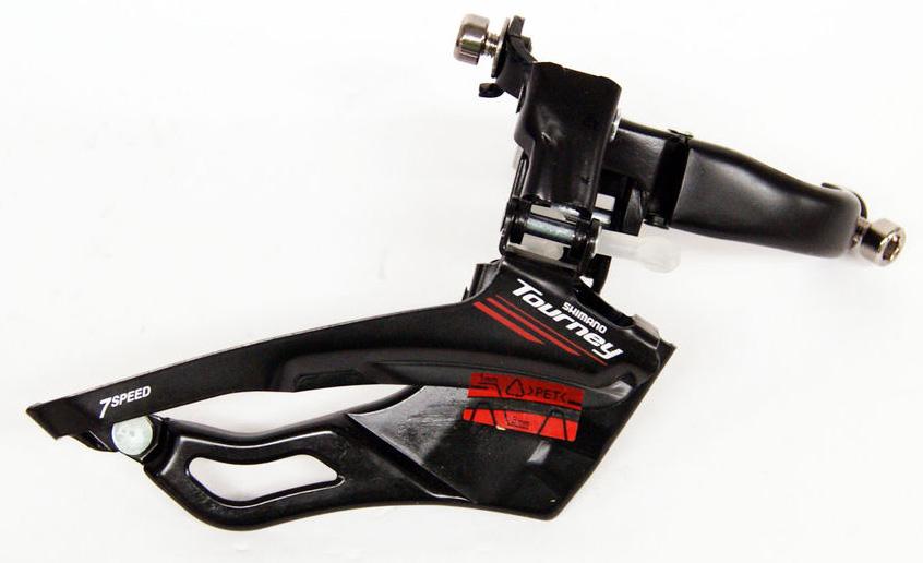 Переключатель передний Shimano Tourney A073, для 3 звезд, 31,9 мм с адаптером 28,6 ммEFDA073X3Переключатель передний Shimano Tourney FD-A070A, для привода 3х7, хомут 31,8 мм, угол 63-66.