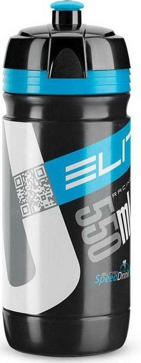Фляга велосипедная Elite Corsa, цвет: черный, синий, 550 млEL00914167Фляга 550 мл Corsa черный логотип синий