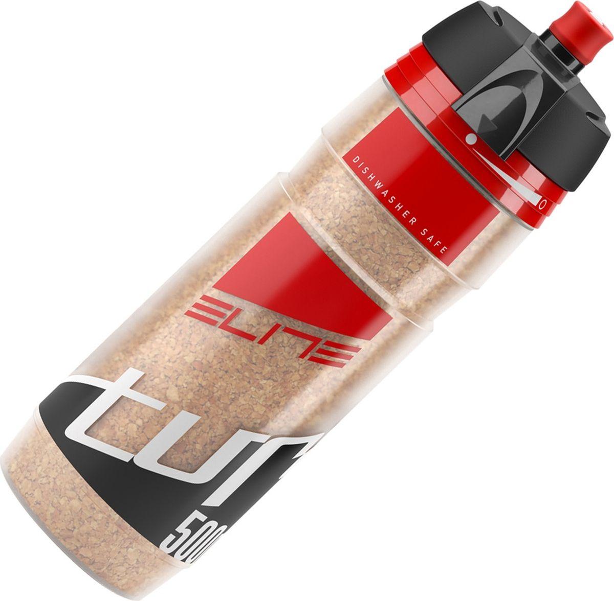 Фляга велосипедная Elite Turacio, цвет: красный, 500 млEL0141305Фляга 500 мл Turacio, термо-3 ч, мембранный клапан, наполнитель из пробкового дерева, красный