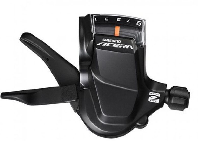 Шифтер Shimano Acera M3000, 3 x 9 скоростейESLM3000PAШифтер Acera, M3000, лев/пр, 3x9ск, тросы(нерж).+оплетк