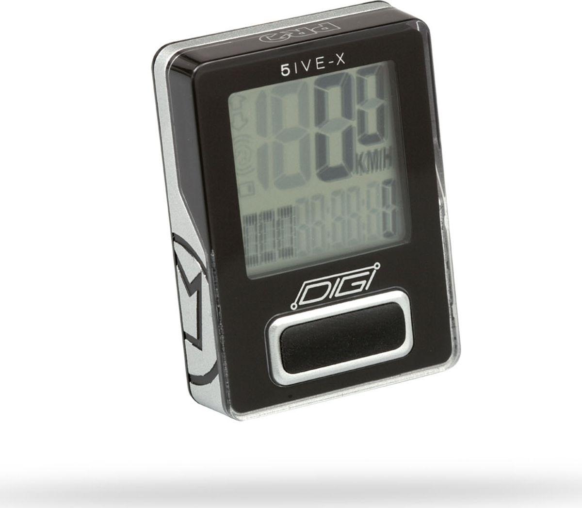 Велокомпьютер Pro Digi 5IVE, беспроводной, 5 функций, цвет: черныйPRCC0006Беспроводоной велокомпьютер Pro Digi 5IVE оснащен 5 функциями. Функции: -текущая скорость, -текущее расстояние,-часы с секундомером,-точность скорости до десятых долей (0,1 км/ч),-точность дистанции до 10 метров (0,01 км).Гид по велоаксессуарам. Статья OZON Гид