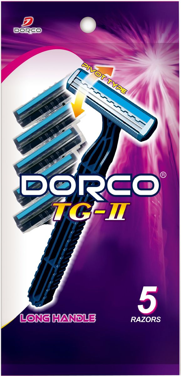 Dorco Cтанки для бритья Dorco 2, c увлажняющей полоской и плавающей головкой, одноразовые, 5 шт.