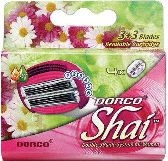 Dorco Kассеты для бритья Shai 3+3, женские, 4 шт.851227Кассеты с увлажняющей полоской и 6 лезвиями обеспечивают комфортное бритье. Лезвия легко промываются. Лезвие не вытирать. Не использовать в целях, отличающихся от прямого назначения продукта. Беречь от детей. Хранить в сухом, недоступном для детей месте.
