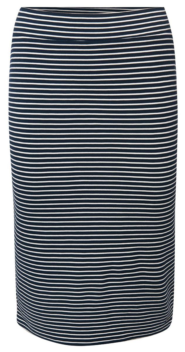 Юбка Tom Tailor, цвет: темно-синий, белый. 5555004.00.71_6901. Размер L (48)5555004.00.71_6901Трикотажная юбка Tom Tailor выполнена из вискозного материала. Модель облегающего кроя на талии дополнена широкой эластичной резинкой.