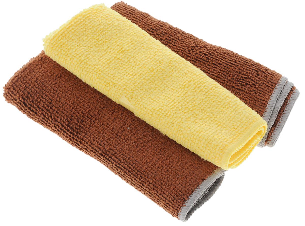 Набор универсальных салфеток Фэйт Вэриес, цвет: коричневый, желтый, 30 х 30 см, 3 шт1304057_коричневый, желтыйНабор Фэйт Вэриес состоит из 3 универсальных салфеток, выполненных измикрофибры. Такие салфетки не оставляют ворсинок и разводов, подходят длямногократного использования, отлично впитывают влагу. Размер салфетки: 30 х 30 см.