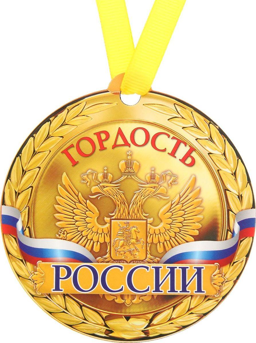 Медаль-магнит сувенирная Гордость России, 8,5 х 9,2 см1221744Медаль-магнит — чудесный памятный сувенир. Медаль дополнена яркой лентой, благодаря которой её сразу же можно надеть на счастливого адресата. После торжества магнит легко разместить на любой металлической поверхности, например на холодильнике, где почётная награда будет радовать вас каждый день и не останется незамеченной. Медаль преподносится на красочной подложке, где написаны тёплые слова в адрес награждаемого.