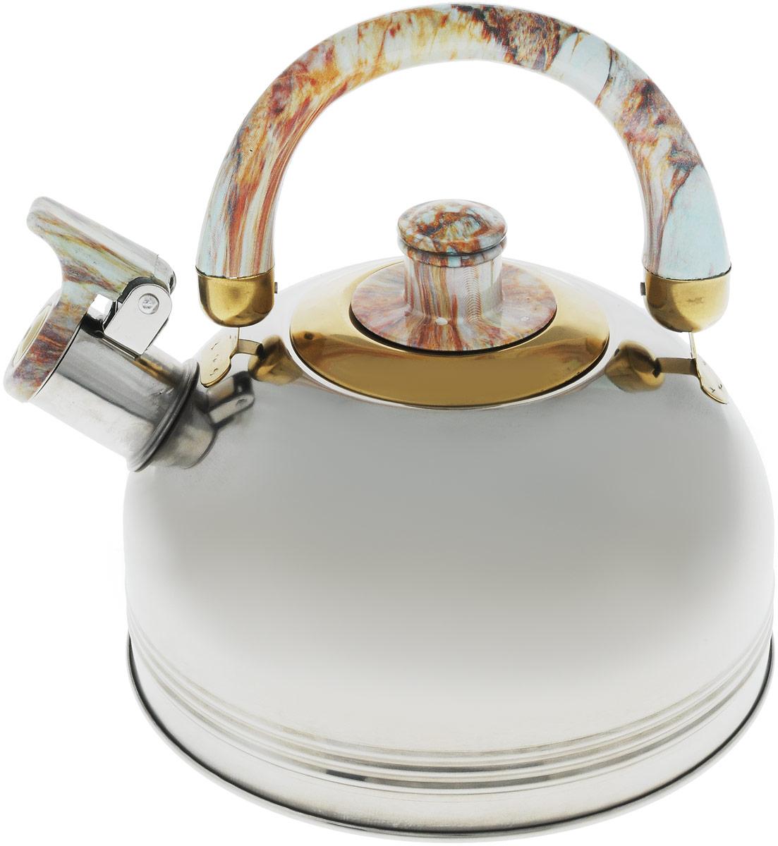 Чайник Wellberg, со свистком, цвет: бежевый, белый, 2 л. 127 WB127 WB_фиолетовыйЧайник Wellberg Whistling выполнен из высококачественной нержавеющей стали, что делает его весьма гигиеничным и устойчивым к износу при длительном использовании. Носик чайника оснащен свистком, что позволит вам контролировать процесс подогрева или кипячения воды. Удобная подвижная ручка выполнена из пластика.Эстетичный и функциональный чайник будет оригинально смотреться в любом интерьере.Подходит для всех типов плит, включая индукционные. Можно мыть в посудомоечной машине.Высота чайника (с учетом ручки и крышки): 19,5 см.Высота чайника (без учета ручки и крышки): 10,5 см.Диаметр чайника (по верхнему краю): 8,5 см.Диаметр основания: 18,8 см.