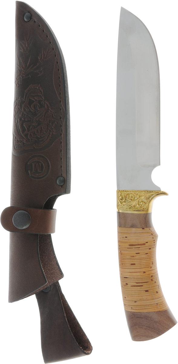 Нож туристический Ворсма Лорд, длина клинка 11,48 см. 14962411496241Ворсма Лорд — это надежная и красивая модель нескладного ножа. Он станет верным спутником в путешествии, походе и отличным помощником в быту. Клинок имеет изящную гравировку и выполнен из нержавеющей стали, а ручка — из бересты, что превращает нож не только в высококачественное и прочное изделие, но и в прекрасный элемент декора.В комплект входит чехол для переноски и хранения ножа.Характеристики:Общая длина: 27 см.Длина клинка: 14,8 см.Ширина клинка: 3,57 см.Толщина клинка: 2,4 мм.Длина рукояти: 12,2 см.Толщина рукояти: 2,3 см.