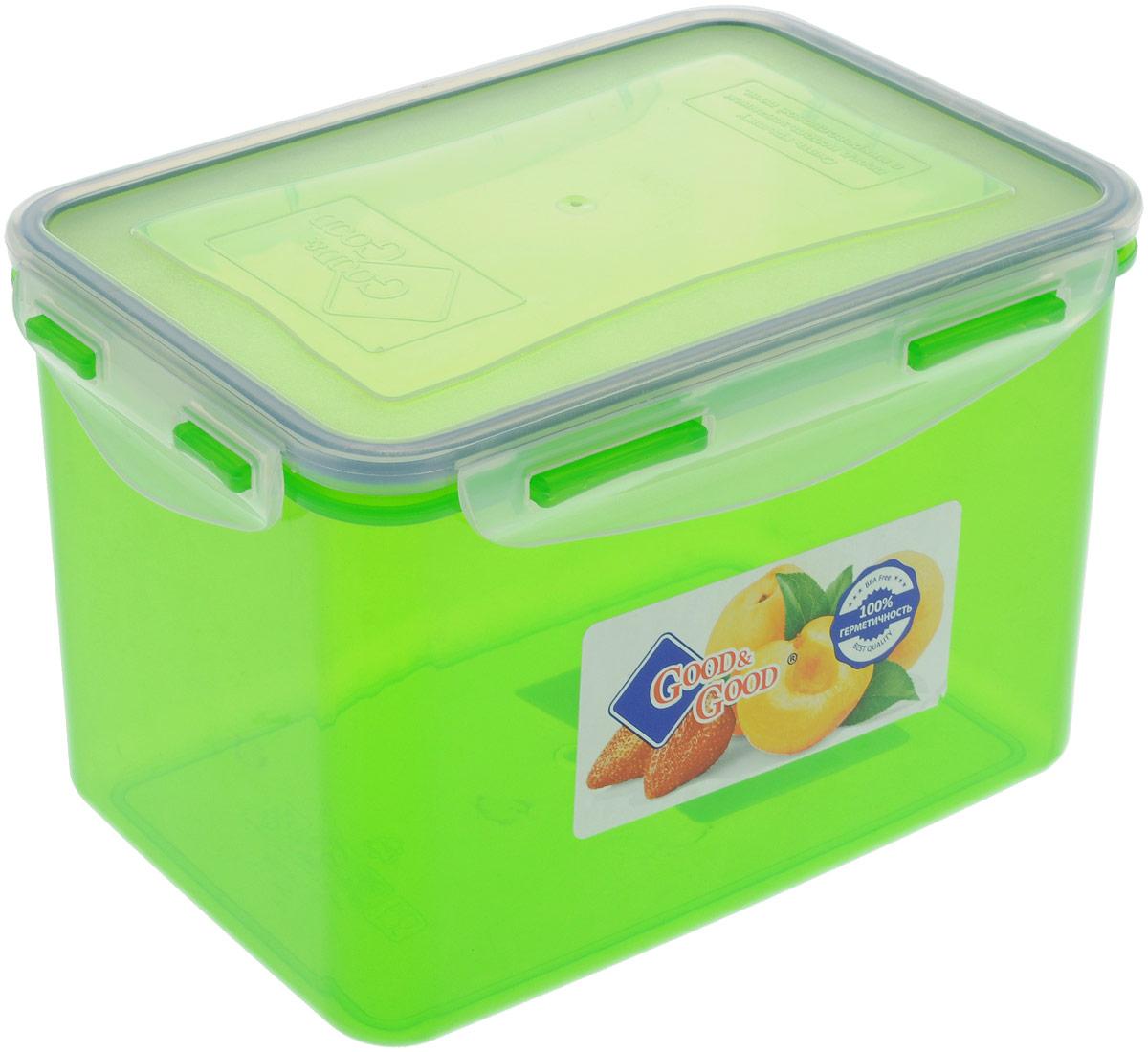 """Прямоугольный контейнер """"Good&Good"""" изготовлен из высококачественного полипропилена и  предназначен для хранения любых пищевых продуктов. Благодаря особым технологиям  изготовления, лотки в течение времени службы не меняют цвет и не пропитываются запахами.  Крышка с силиконовой вставкой герметично защелкивается специальным механизмом.  Контейнер """"Good&Good"""" удобен для ежедневного использования в быту. Можно мыть в посудомоечной машине и использовать в микроволновой печи. Размер контейнера (с учетом крышки): 19,5 х 11 х 12,5 см."""