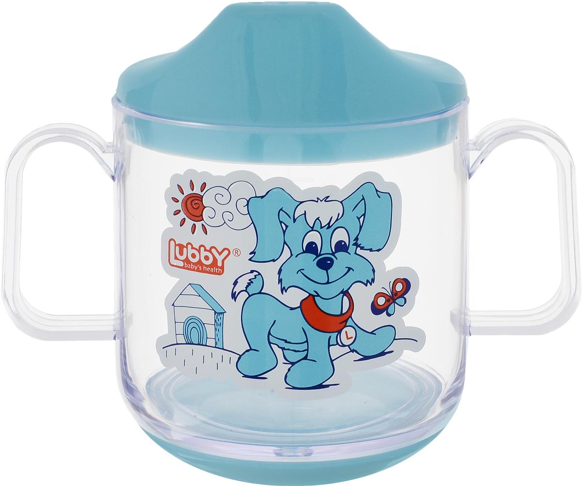Lubby Кружка-поильник Веселые животные от 6 месяцев цвет голубой 150 мл