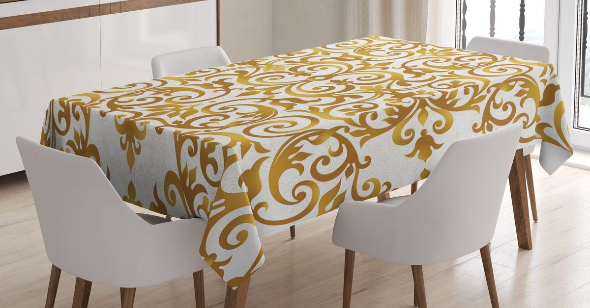 Скатерть Magic Lady, прямоугольная, цвет: белый, золотой, 180 х 145 см. tc_14041_180x145tc-14046-180x145Оригинальная фотоскатерть от Magic Lady украсит ваш дом. Изделие выполнено из высококачественного сатена (полиэстер 100%). При изготовлении используются специальные гипоаллергенные чернила для прямой печати по ткани, безопасные для человека и животных. Экологичность продукции Magic Lady и безопасность для окружающей среды подтверждены сертификатом Oeko-Tex Standard 100. Внимание!При нанесении сублимационной печати на ткань технологическим методом при температуре 240 С, возможно отклонение полученных размеров (указанных на этикетке и сайте) от стандартных на + - 3-5 см. Мы стараемся максимально точно передать цвета изделия на наших фотографиях, однако искажения неизбежны и фактический цвет изделия может отличаться от воспринимаемого по фото.
