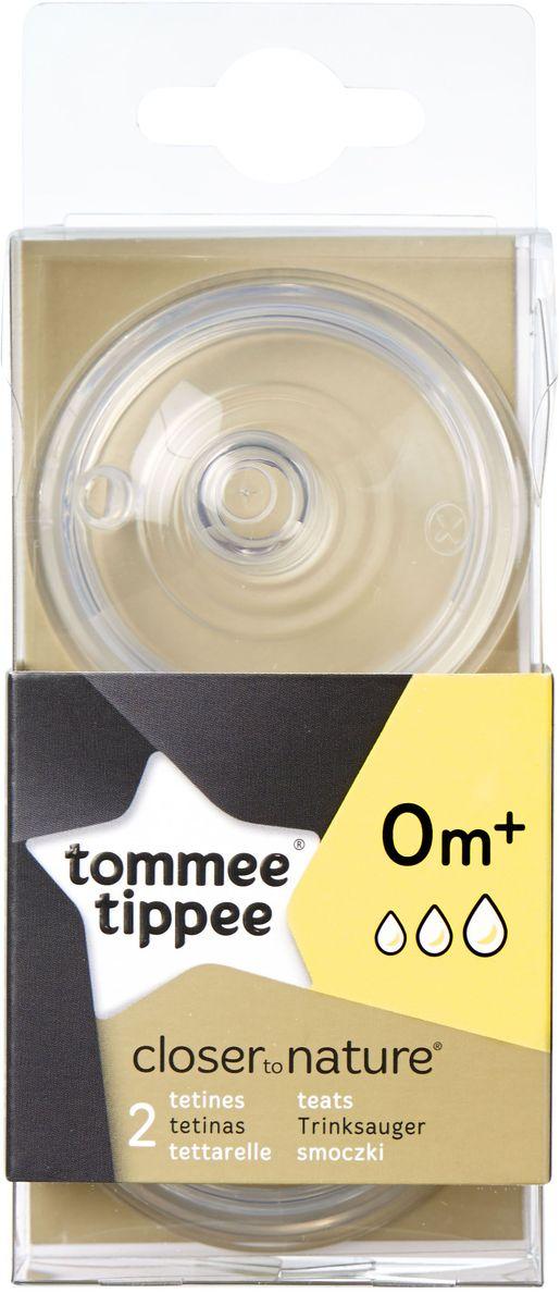 Tommee Tippee Соска для бутылочки Close To Nature переменный поток от 0 месяцев 2 шт радионяни tommee tippee радионяня с технологией dect и сенсорным ковриком