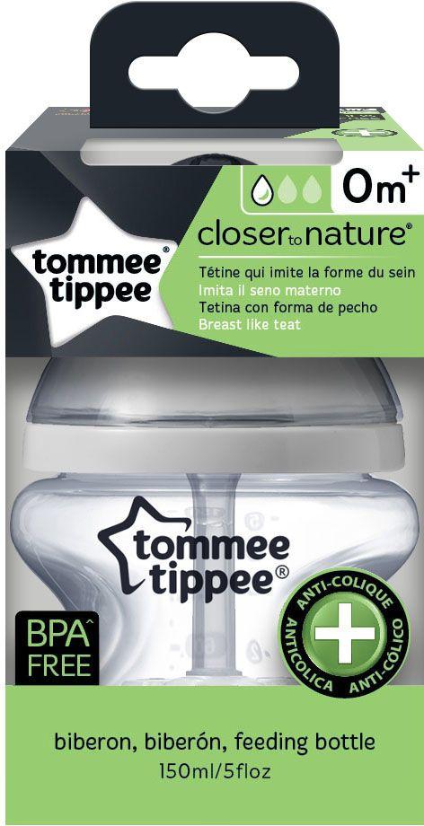 Tommee Tippee бутылочка для кормления с усиленным антиколиковым клапаном и индикатором температуры 150 мл -  Бутылочки