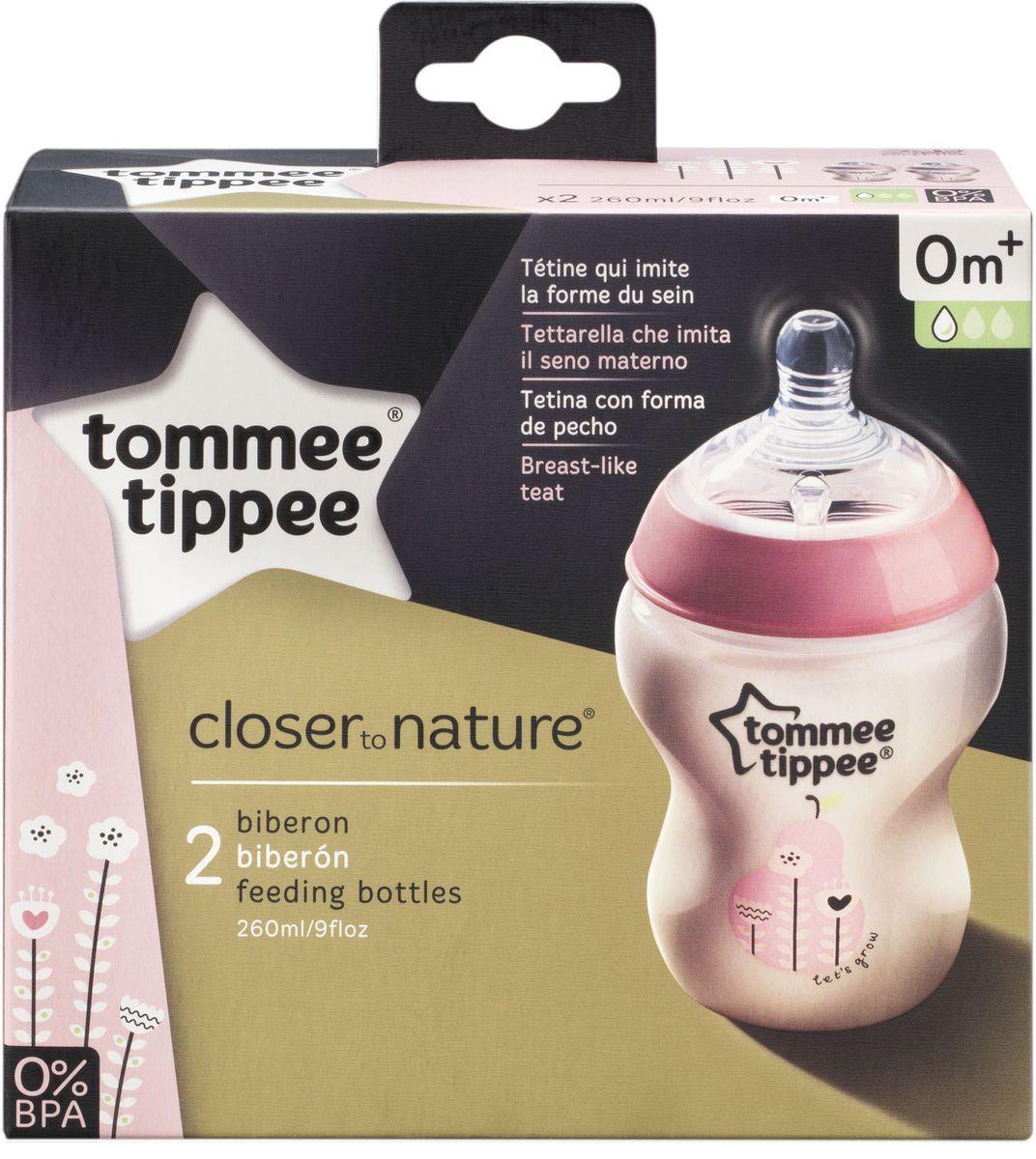 Tommee Tippee бутылочки для кормления с рисунком с антиколиковым клапаном цвет розовый 260 мл 2 шт. -  Бутылочки