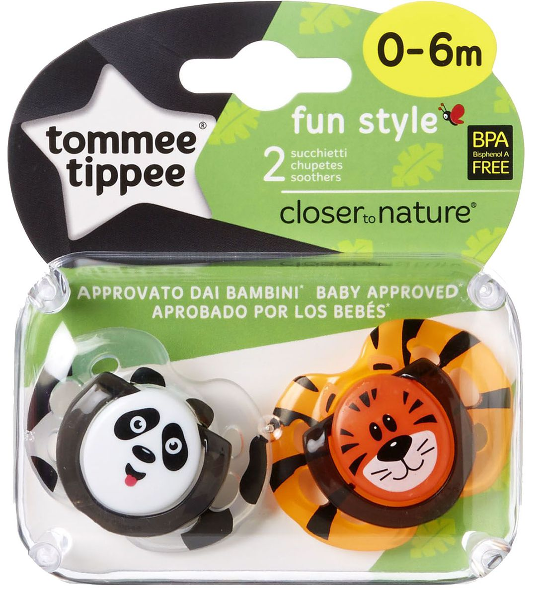 Tommee Tippee Пустышка Fun Style Веселые животные Панда Тигренок от 0 до 6 месяцев 2 шт